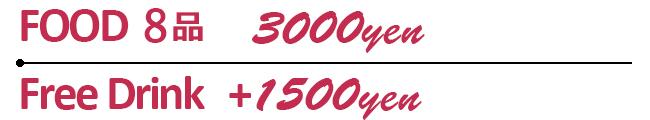 Food 8品3000円/FreeDrinkプラス1500円